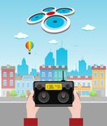 Drone Above The City Stock Illustration