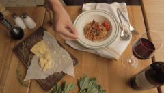 Top View Serve bolognese pasta with beef and pepper macro - stock footage