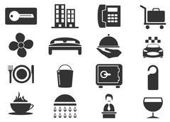 Hotel room icons set Stock Illustration