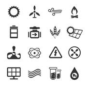 Fuel and Power Generation Icons - stock illustration