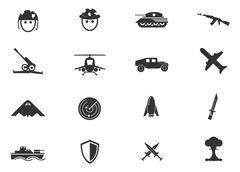 Military and war icons - stock illustration