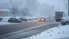 Snowy Urban Street In A Blizzard Stock Footage