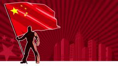 Flag Bearer China Background - stock footage