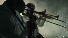 Musicians playing wind instruments Stock Footage