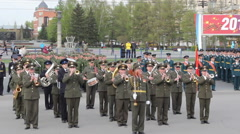 BARNAUL, RUSSIA : Military band plays in the Victory Day Stock Footage