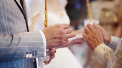 The exchange of wedding rings in the Orthodox Church Stock Footage