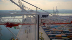 ABP cranes and containers at Southampton Port UK, filmed by drone Stock Footage