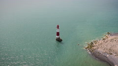 Aerial drone footage of Seven Sisters lighthouse Stock Footage