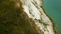 Aerial drone footage over Seven Sisters cliff edge Stock Footage