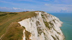 Aerial drone footage of Seven Sisters Stock Footage