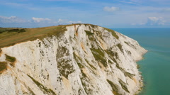 Wide aerial drone footage of Seven Sisters cliffs Stock Footage