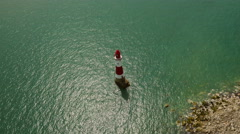 High aerial drone footage of the Seven Sisters lighthouse Stock Footage