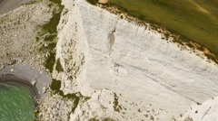 Birds-eye view aerial drone footage of Seven Sisters /Beachy Head - stock footage