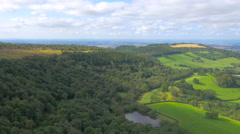 Aerial footage from drone flying over Yorkshire Moors, UK Stock Footage