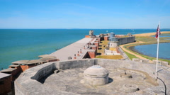 Hurst Castle and lighthouse, aerial footage filmed by drone Stock Footage
