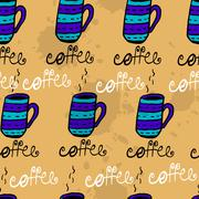 Seamless pattern with sketchy h coffee cups - stock illustration