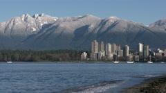 Vancouver Towers, Mountain Snow, Kitsilano 4K Stock Footage
