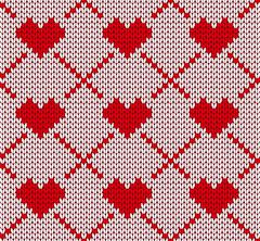 Seamless knitting pattern with hearts Stock Illustration