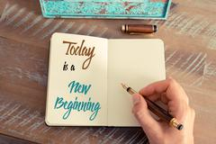 Stock Photo of Written text TODAY IS A NEW BEGINNING