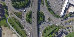 Timelapse Busy Traffic Roundabout Aerial Nadir From Above - stock footage