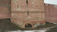 Old towers of Novgorod Kremlin, Veliky Novgorod, Russia Stock Footage