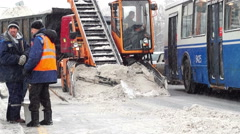 Street snow removal. Russia, Moscow. Arkistovideo