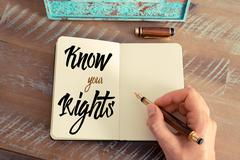 Written text KNOW YOUR RIGHTS - stock photo