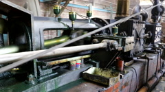 Old machine working by water steam engine in agricultural factory Stock Footage