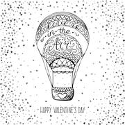 Hand drawn air balloon with love is in the air handwritten calligraphy - stock illustration
