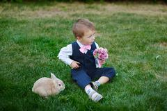 Little boy in suit with a bouquet and a rabbit Stock Photos