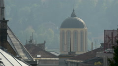 View of a tower and old roofs in Sarajevo Stock Footage