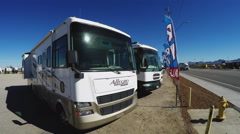 New Class A Recreational Vehicle RV Campers On Dealer Lot Stock Footage