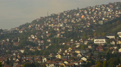 View of traditional houses on a hill, on a foggy day in Sarajevo Stock Footage