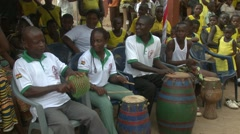 DRUMMERS PERFORMING AT SCHOOL CEREMONY Stock Footage