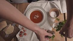Top view Serving soup with bacon, sea salt and ciabatta in Cafe Stock Footage