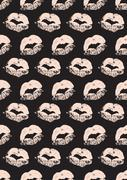 Seamless pattern with a lipstick kiss prints - stock illustration