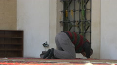 Muslim man praying in Sarajevo Stock Footage
