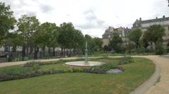 Fountaine de l'Avril located in Brignole Galliera square in Paris Stock Footage