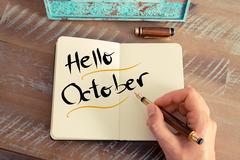 Written text HELLO OCTOBER - stock photo