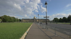 Hotel National des Invalides seen from Avenue du Marechal Gallieni in  Paris Stock Footage