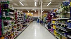 Pet food corridor in Save on Foods. Stock Footage