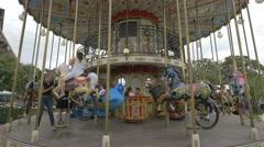 Trocadero Carousel or Carrousel de Paris near Eiffel Tower, Paris Stock Footage