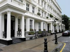 Typical upper class London Victorian townhouses - stock photo