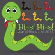 Hiss! Hiss! Happy new year cute cartoon snake set in vector format. Stock Illustration