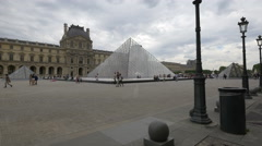 The Louvre Pyramid in the Napoleon Courtyard, Paris Stock Footage