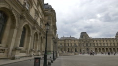 The Napoleon Courtyard of Louvre Museum, Paris Stock Footage