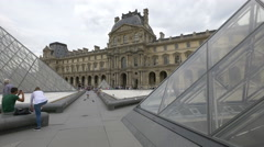 Alleys next to the Louvre Pyramid in the Napoleon Courtyard, Paris Stock Footage