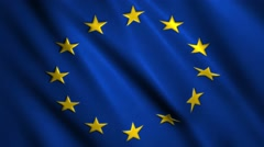 European union flag waving and blowing in the breeze Stock Footage