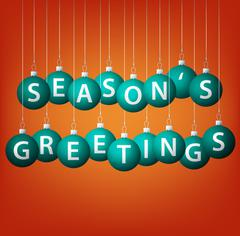 Season's Greetings hanging bauble card in vector format. - stock illustration