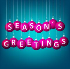 Season's Greetings hanging bauble card in vector format. Stock Illustration